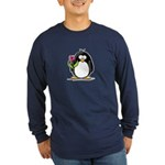Penguin with a Tulip Long Sleeve Dark T-Shirt
