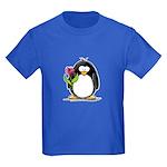 Penguin with a Tulip Kids Dark T-Shirt
