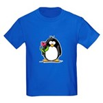 Penguin with a Tulip Kids Dark T-Shirt