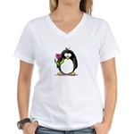 Penguin with a Tulip Women's V-Neck T-Shirt