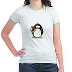 Penguin with a Tulip Jr. Ringer T-Shirt