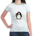 Penguin with a Tulip Jr. Ringer T-Shirt