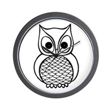 Black and White Owl 1 Wall Clock