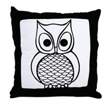 Black and White Owl 1 Throw Pillow