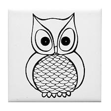Black and White Owl 1 Tile Coaster