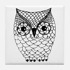 Black and White Owl 2 Tile Coaster