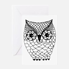 Black and White Owl 2 Greeting Card