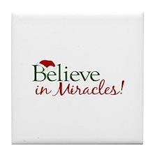 Believe in Miracles (Santa) Tile Coaster