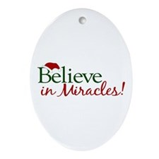 Believe in Miracles (Santa) Oval Ornament