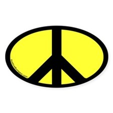 Peace Symbol Oval Decal (yellow)