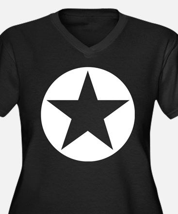 White Star Women's Plus Size V-Neck Dark T-Shirt