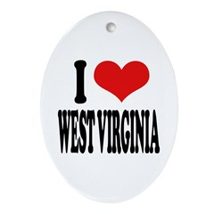 I Love West Virginia Oval Ornament