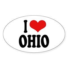 I Love Ohio Oval Sticker (50 pk)