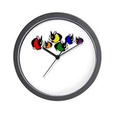 Rainbow Bunny Rabbits Wall Clock