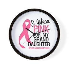 Pink Ribbon Granddaughter Wall Clock