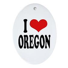 I Love Oregon Oval Ornament