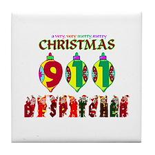 911 Dispatcher Christmas Tile Coaster