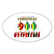 911 Dispatcher Christmas Oval Decal