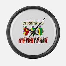 911 Dispatcher Christmas Large Wall Clock