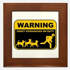 WARNING Crazy Chihuahuas Framed Tile