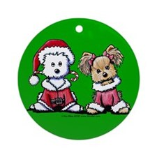 Mr. & Mrs. Santa Paws Ornament (Round)