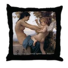 Girl Defending Against Eros Throw Pillow