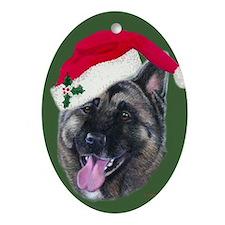 Akita - Santa Oval Ornament