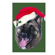 Akita - Santa Postcards (Package of 8)
