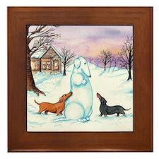 Snow Dachshunds Framed Tile