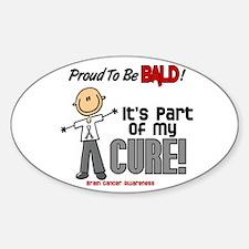 Bald 1 Brain Cancer (SFT) Oval Decal