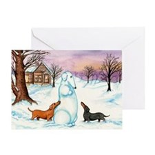 Snow Weiner Dog Greeting Card