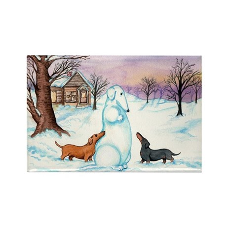 Snow Dachshunds Rectangle Magnet