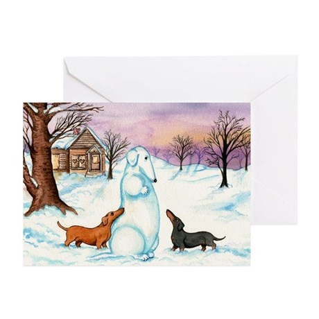 Snow Weiner Dog Christmas Greeting Cards (10)