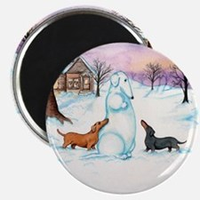 "Snow Dachshunds 2.25"" Magnet (100 pack)"