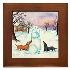 Snow Dachshunds Framed Tile