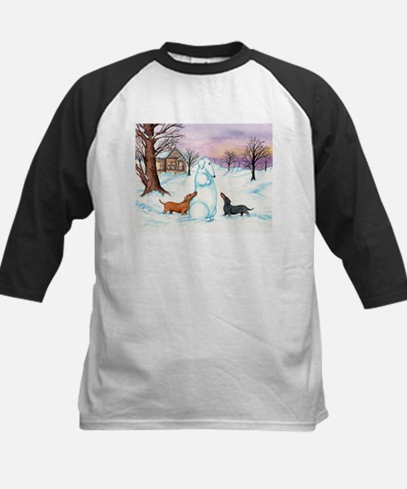 Snow Dachshunds Kids Baseball Jersey