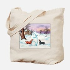 Snow Dachshunds Tote Bag