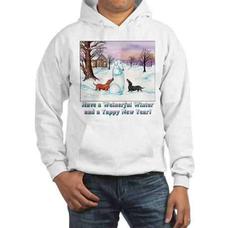 Snow Dachshunds Winter Message Hooded Sweatshirt