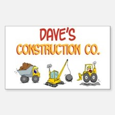 Dave's Construction Tractors Rectangle Decal