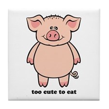 Too Cute To Eat Pig Tile Coaster
