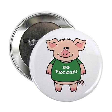 "Go Veggie Pig 2.25"" Button (100 pack)"