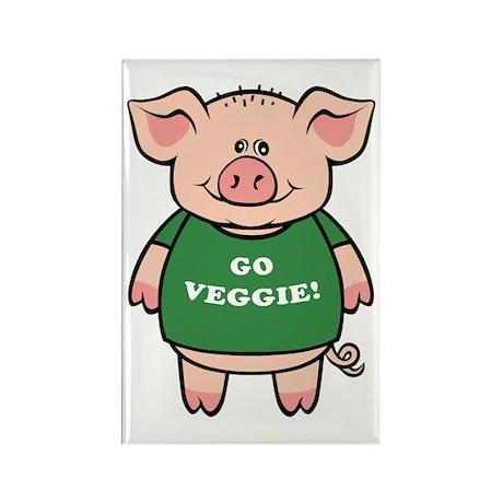 Go Veggie Pig Rectangle Magnet (10 pack)