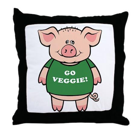 Go Veggie Pig Throw Pillow