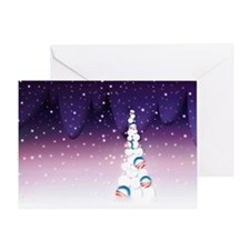 Barack Obama Christmas Tree Greeting Card (Purple)