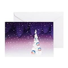 Barack Obama Christmas Tree Greeting Card (Purple)