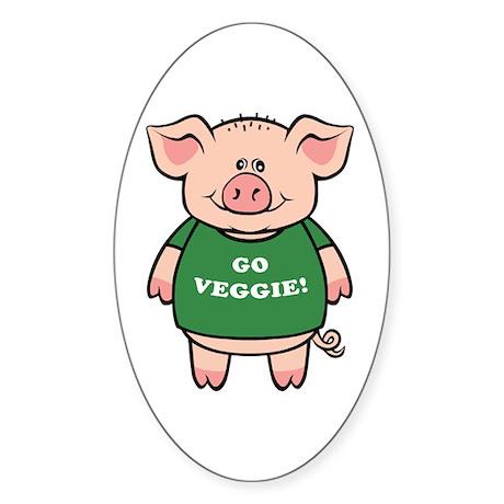 Go Veggie Pig Oval Sticker