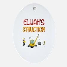 Elijah's Construction Tractor Oval Ornament
