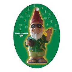Whaddup? Xmas Gnome Oval Ornament