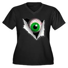 Eyeball Women's Plus Size V-Neck Dark T-Shirt