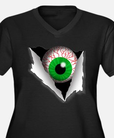 Eyeball Women's Plus Size V-Neck Dark T-Shirt